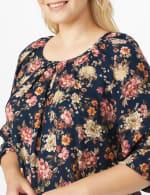 Roz & Ali  Navy Floral Bubble Hem Blouse - Plus - 5