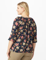 Roz & Ali  Navy Floral Bubble Hem Blouse - Plus - Navy/Rose - Back