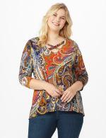 Westport Paisley Knit Top - Plus - 6