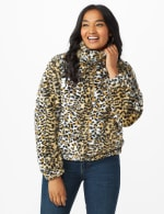 Faux Fur Zip Up Bomber Jacket - Animal - Front