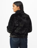 Faux Fur Zip Up Bomber Jacket - Black - Back