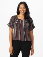 Roz & Ali Diamond Stripe Bubble Hem Blouse - Black/Ivory/Red - Front
