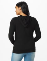 DB Sunday Grommet Zip Front Knit Cardigan - Black - Back
