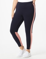 DB Sunday Color Block Legging - Plus - Navy with Mauve - Front