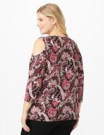 Westport Bohemian Print Knit Top - Plus - Burgundy/Pink - Back