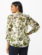 Floral Printed Blouse With Lurex - White Swan/Navy - Back