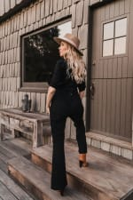 Jenna Denim long sleeve Jumpsuit - Plus - Black - Back