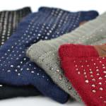 Studded Fleece Lined Winter Headband - Charcoal - Back