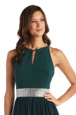 Maxi Dress with Keyhole Cutout Halterneck and Flowing Skirt - 7