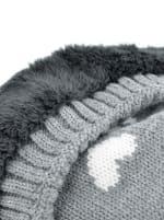 Hearts & Pom Pom Winter Hat - Grey - Detail