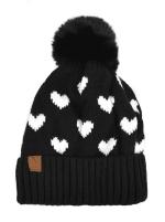 Hearts & Pom Pom Winter Hat - 2