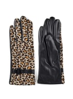 Leopard Print Faux Leather Touch Screen Gloves - Leopard - Back
