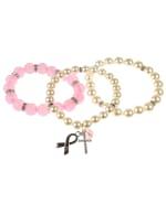 3 pc Breast Cancer Awareness Multi Bracelet Set - Pink / Pearl - Detail