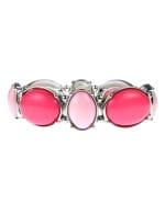 Pink Moroccan Design Stretch Bracelet - Pink Multi - Front
