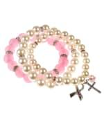 3 pc Breast Cancer Awareness Multi Bracelet Set - Pink / Pearl - Back