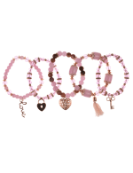 5 pc Pink Multi Bracelet Set - Pink Multi - Back