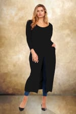 Front Slit Long Sleeve Shirt With Pockets - Plus - Black - Front