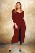 Front Slit Long Sleeve Shirt With Pockets - Plus - Burgundy - Front