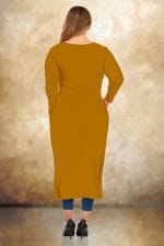 Front Slit Long Sleeve Shirt With Pockets - Plus - Mustard - Back