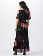Large Floral Ruffle Dress - black/lilac - Back