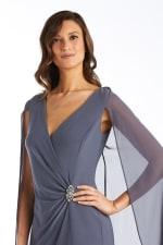 Chiffon Duster Cape Surplice Wrap Dress - 7