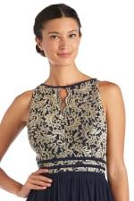 Long Glitter Lace Bodice Keyhole Halter Dress - 3