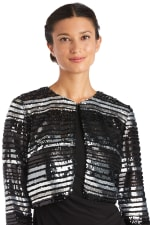 Striped Power Mesh Shrug - Black / Silver - Front