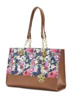 Floral Satchel Handbag - Multi/Camel - Back