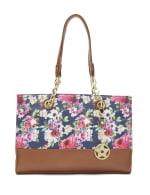 Floral Satchel Handbag - Multi/Camel - Front
