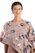 Novelty Sheer Floral Sequin Caplet Short Dress - 3