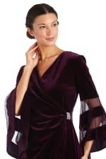 Sheer Trim Angel Sleeve Velvet Wrap Dress - 7