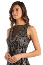 Sheer Insert Glitter Placement Slinky Dress - 3