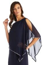 Rhinestone Caplet Metallic Stripe Dress - 3