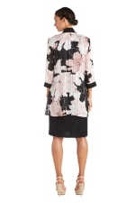 Two-Piece Print Satin Stripe Jacket Dress Regular - Black / Pink  - Back