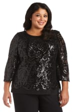 Bell Sleeves Panel Sequin Top - Plus - Black - Front
