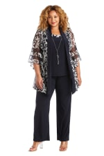 Three Piece Banded Butterfly Sleeve Mock Pant Set - Plus - Navy / White - Front
