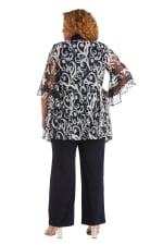 Three Piece Banded Butterfly Sleeve Mock Pant Set - Plus - Navy / White - Back