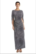 Fitted Column Gown with Shawl Sleeves and Metallic Finish - Navy/Silver - Front