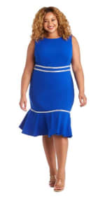 Sleeveless, Fitted Fishtail Dress with Diamante Embellishments - Plus - Royal Blue - Front