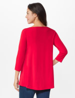 Roz & Ali Keyhole Fit & Flare Knit Top - Arresting Red - Back