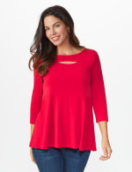 Roz & Ali Keyhole Fit & Flare Knit Top - Arresting Red - Front