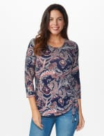 Dressbarn Paisley Hacci Cinched Knit Top - Misses - Navy - Front