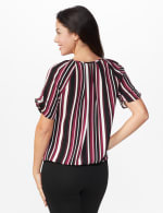 Roz & Ali Striped Bubble Hem Blouse - White/Khaki/Black - Back