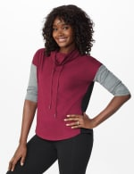 DB Sunday Color Block Knit Top - Burgundy - Front