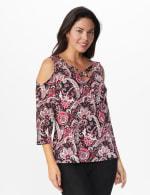 Westport Bohemian Print Cold Shoulder knit Top - Burgundy/Pink - Front