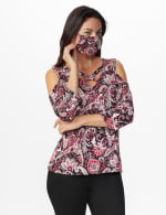 Westport Bohemian Print knit Top - Misses - Burgundy/Pink - Front