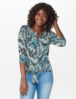 Westport Bohemian Print  Knit Top - Teal/Black - Front