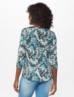 Westport Bohemian Print  Knit Top - Teal/Black - Back