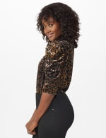 Roz & Ali  Puff Sleeve Velvet Burnout Knit Top - 3