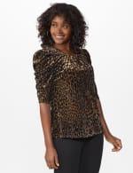 Roz & Ali  Puff Sleeve Velvet Burnout Knit Top - 6